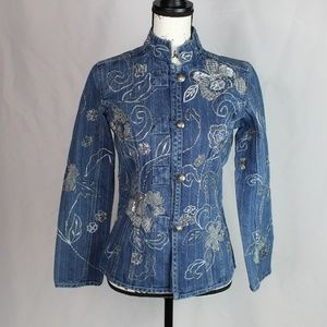 Chicos 1 Medium Denim Jacket Embroidered Silver